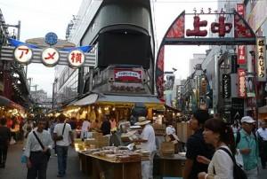 上野の有名なアメ横商店街。